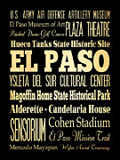 Bus Roll Art - Attractions and Famous Places of El Paso Texas by Joy House Studio