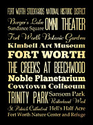 Kimbell Framed Prints - Attractions and Famous Places of Fort Worth Texas Framed Print by Joy House Studio