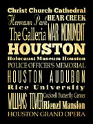 Bus Roll Art - Attractions and Famous Places of Houston Texas by Joy House Studio