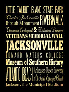 Jacksonville Digital Art Prints - Attractions and Famous Places of Jacksonville Florida Print by Joy House Studio