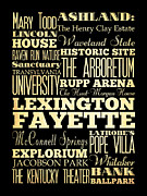 Mary Todd Lincoln Prints - Attractions and Famous Places of Lexington Fayettte Kentucky Print by Joy House Studio
