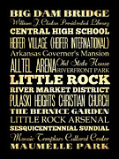 Arkansas Digital Art Posters - Attractions and Famous Places of Little Rock Arkansas Poster by Joy House Studio