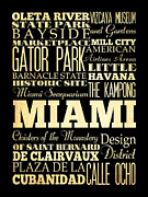 Miami Digital Art Posters - Attractions and Famous Places of Miami Florida Poster by Joy House Studio