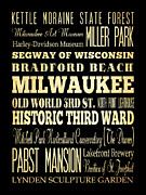 Bus Roll Art - Attractions and Famous Places of Milwaukee Wisconsin by Joy House Studio