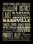 Bus Roll Art - Attractions and Famous Places of  Nashville Tennessee by Joy House Studio