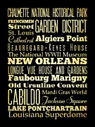 Bus Roll Art - Attractions and Famous Places of New Orleans Louisiana by Joy House Studio