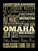 Omaha Nebraska Art Prints - Attractions and Famous Places of Omaha Nebraska Print by Joy House Studio