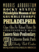 Rocky Statue Prints - Attractions and Famous Places of Philadelphia Pennsylvania Print by Joy House Studio