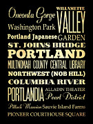 Bus Roll Art - Attractions and Famous Places of Portland Oregon by Joy House Studio