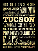 Bus Roll Art - Attractions and Famous Places of Tucson Arizona by Joy House Studio