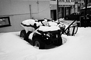 City Streets Prints - atv quad covered in snow Honningsvag finnmark norway europe Print by Joe Fox