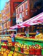 Verdun Landmarks Paintings - Atwater Market   by Carole Spandau