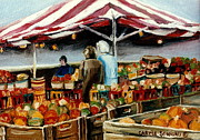 Halloween Scene Paintings - Atwater Market Montreal Street Scene by Carole Spandau