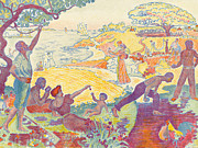 Painter Posters - Au Temps dHarmonie Poster by Paul Signac