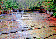 Munising Mixed Media Metal Prints - Au train Falls Metal Print by Michael P Ray