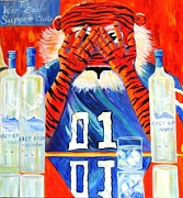 Mascots Painting Prints - AUbie Getn Goosed Print by Cyndi Eastburn