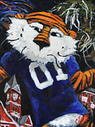 Red Eagle Posters - Aubie Prowling on Campus Poster by Carole Foret