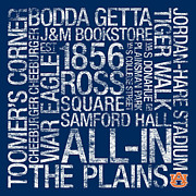 Featured Metal Prints - Auburn College Colors Subway Art Metal Print by Replay Photos