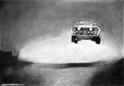 Rally Drawings Posters - Audi Quattro Flying Poster by Gabor Vida