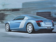 Wheel Drawings Prints - Audi R8 Lemans Concept Print by Paul Kuras