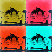 German Classic Cars Prints - Audi Silver Arrow Pop Art 2 Print by Irina  March