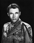 Graphite Framed Prints - Audie Murphy Framed Print by Peter Piatt