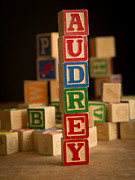 Alphabet Metal Prints - AUDREY - Alphabet Blocks Metal Print by Edward Fielding