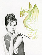 Watercolor Portrait. Prints - Audrey and Her Magic Dragon Print by Olga Shvartsur