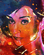 Audrey Hepburn Paintings - Audrey colored my heart by Stefan Kuhn
