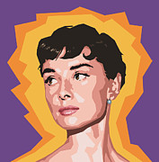 Actress Digital Art Framed Prints - Audrey Framed Print by Douglas Simonson