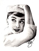 Actors Drawings Originals - Audrey Hepburn 2 by Rosalinda Markle