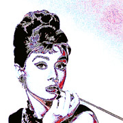 Shoulder Digital Art Posters - Audrey Hepburn 20130330 square Poster by Wingsdomain Art and Photography
