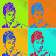 Shoulder Digital Art Posters - Audrey Hepburn 20130330v2 four Poster by Wingsdomain Art and Photography