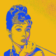 Fame Metal Prints - Audrey Hepburn 20130330v2 square Metal Print by Wingsdomain Art and Photography