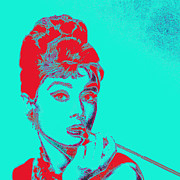 Actors Digital Art Posters - Audrey Hepburn 20130330v2p128 square Poster by Wingsdomain Art and Photography