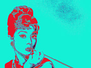 Popart Digital Art Prints - Audrey Hepburn 20130330v2p128 Print by Wingsdomain Art and Photography