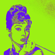 Shoulder Digital Art Metal Prints - Audrey Hepburn 20130330v2p38 square Metal Print by Wingsdomain Art and Photography