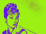 Shoulder Digital Art Metal Prints - Audrey Hepburn 20130330v2p38 Metal Print by Wingsdomain Art and Photography