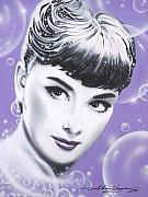 Movie Stars Paintings - Audrey Hepburn by Alicia Hayes