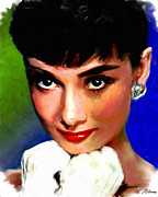 Movie Stars Painting Prints - Audrey Hepburn Print by Allen Glass