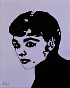 Movie Posters Paintings - Audrey Hepburn by Alys Caviness-Gober