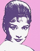 Bun Mixed Media Posters - Audrey Hepburn Poster by Art Cinema Gallery