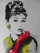 Audrey Hepburn Painting Originals - Audrey Hepburn by Chrisann Ellis