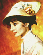 Female Art Mixed Media Print Mixed Media Posters - Audrey Hepburn - Impressionism Poster by Zeana Romanovna