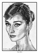 British Portraits Drawings Framed Prints - Audrey Hepburn Framed Print by J McCombie