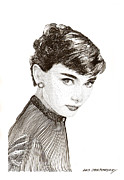 Breakfast Drawings Prints - Audrey Hepburn Print by Jack Pumphrey