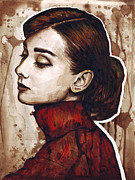 Brown Mixed Media Metal Prints - Audrey Hepburn Metal Print by Olga Shvartsur