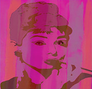 Superstar Mixed Media - Audrey Hepburn Pink by Brian Reaves
