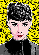 Actress  Posters - Audrey Hepburn Pop Art Poster by Jim Zahniser