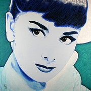Audrey Hepburn Painting Originals - Audrey Hepburn Pop Art Painting by Bob Baker